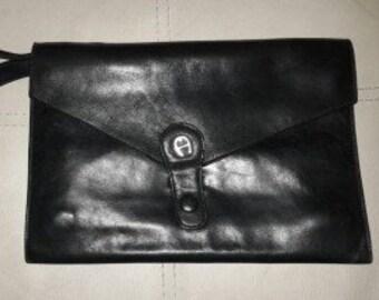 Vintage Men's Bag Designer Etienne Aigner Black Leather Wrist Strap Bag Expandable Murse Men's Handbag Large Silver Logo Boho Envelope Bag