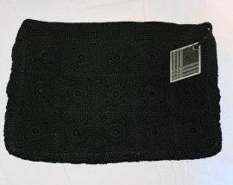 Vintage 1940s Purse Black Crochet Clutch Handbag Carved Lucite Diamond Zipper Pull Rare Larger Size Art Deco Rockabilly