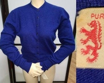 Vintage Cashmere Sweater 1950s Blue Purple Pringle of Scotland Cardigan Sweater Preppy Rockabilly M chest 38 in.