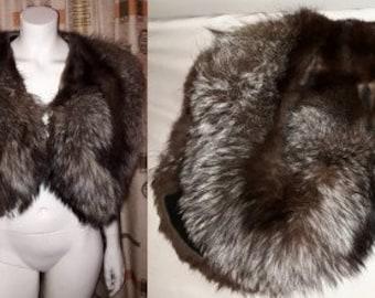 Vintage Fox Fur Stole 1930s 40s Fluffy Silver Fox Fur Shoulder Cape Wrap Scalloped Edges Art Deco Pinup M