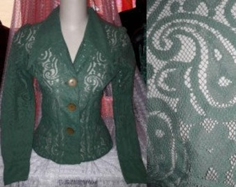 Vintage Lace Blouse 1960s 70s Green Lace Blouse Paisley Floral Pattern Lace Large Pointed Collar Boho S chest to 36 in.