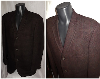 SALE Men's 1950s Blazer Dark Brown Maroon Plaid Wool Sport Coat 3 Button Jacket USA Rockabilly L chest to 44 in. damaged lining