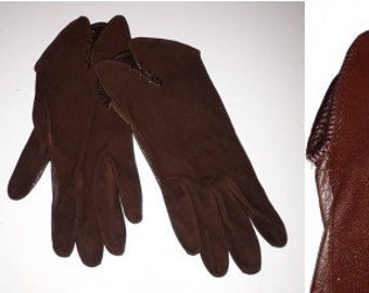 Vintage Leather Suede Gloves 1940s 50s Very Thin Dark Brown Gloves Asymetrical Edges German Art Deco  6 3/4