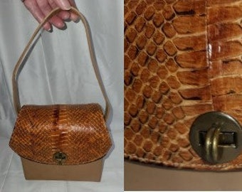 Vintage Snakeskin Purse 1930s 40s Cognac Brown Snake Leather Box Purse Handbag Film Star Creations Hollywood USA Art Deco
