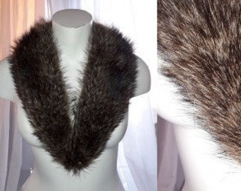 Vintage Fur Collar Brown Black Fluffy Raccoon Fur Collar Lined Boho 31 inches around