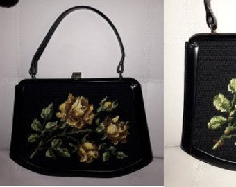 Vintage 1950s Purse Large Black Wool Petit Point Floral Embroidered Tapestry Handbag Leather Trim Yellow Roses German Rockabilly Mod Boho