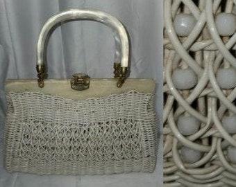 SALE Vintage 1950s Purse Beige Straw Wicker Bead Handbag Lucite Handles Rockabilly