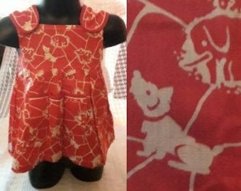 Unworn Child's Dress 1960s Red Abstract Whimsical Print of Animals Apron Dress Baby Girls Dress NWT East Germany DDR