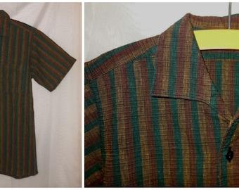 Vintage Boy's Shirt 1950s Brown Cotton Striped Shirt Medium Weight Teen XXS Men's 50s shirt German Rockabilly Hot Rod  chest to 33 in.