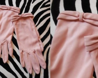 Vintage Gloves 1950s 60s Light Pink Nylon Bow Detail GEA West Germany Rockabilly Day Gloves 6 1/2