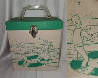 Vintage Record Case 1950s Platter Pak 45 Single Record Holder Carrier Green White Great Graphic Dancing Teenagers Rockabilly