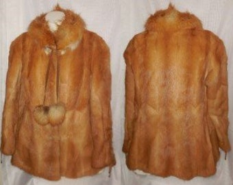 Vintage Fur Coat 1970s Ginger Weasel Jacket Red Fox Fur Collar and Pom Poms Suede Ties Boho Fur Jacket M chest to 39 in.