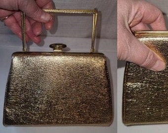 Vintage 1960s Purse Small Gold Metallic Evening Bag Unique Gold Metal Top Handle Convertible to Clutch Mod