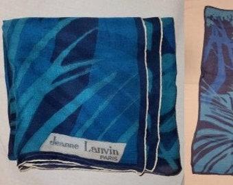 Vintage Designer Scarf 1950s 60s Thin Silk Chiffon Jeanne Lanvin Paris Shades of Blue Palm Pattern Scarf 30 x 30 in.