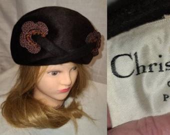 Vintage Designer Hat 1960s 70s Christian Dior High Round Brown Pouf Hat Unique Knit Bead Ornaments Mod Boho 20.5 in.