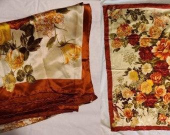 Vintage Silk Scarf Extra Large 1970s 80s Silk Scarf Orange Beige Floral Print Hand Rolled Edges Silk Wrap Boho 41.5 in. sq.