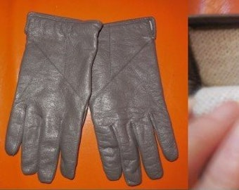 SALE Vintage Leather Gloves 1970s Gray Leather Gloves Warm Fabric Lining Mod Winter Gloves L XL
