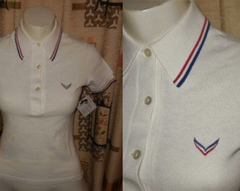 Vintage Polo Shirt Unworn 1970s White Tennis Shirt Red Blue Trim Logo West Germany Preppy XS chest to 33 in.