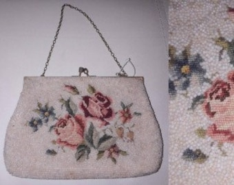 Vintage Embroidered Beaded Purse 1940s 50s Tiny Cream Seed Beads Pink Green Embroidered Roses Evening Bag Art Deco Rockabilly Stains AS IS
