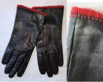 Vintage Leather Gloves Soft Black Leather Gloves Red Acrylic Lining Boho Winter Gloves M