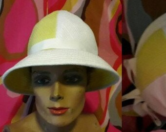Vintage 1950s 60s Hat Bright Yellow White Wide Brim Cotton Linen Hat Large White Bow Bucket Hat USA Boho Summer Festival Mod 21 in.