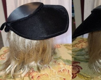 Vintage 1940s Hat Black Satin Velvet Asymetric Wide Brim Picture Half Hat Bow at Back Film Noir Rockabilly 21 in.