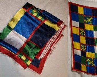 Vintage Scarf 1960s Large Colorful Rayon Geometric Grid Pattern Scarf Mod Boho 31 x 31.5 in.