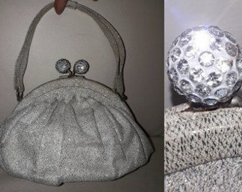 Vintage Silver Purse 1950s 60s Small Silver Glitter Fabric Cocktail Evening Bag Huge Double Ball Rhinestone Clasp Elegant Mod