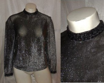 Vintage Metallic Top 1960s Black Silver Thin Lurex Blouse Sequins Mod Boho M chest to 37 in.