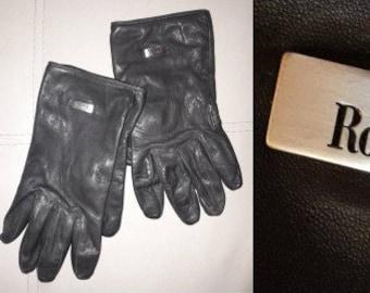 Vintage Leather Gloves Soft Dark Gray Leather Roeckl Gloves Soft Dark Blue Lining German Designer Gloves M L