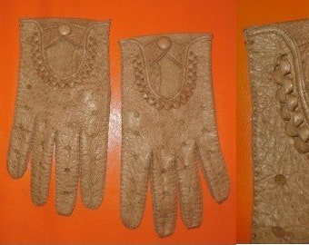 Vintage Leather Gloves 1960s Soft Brown Peccary Leather Driving Gloves Perforated Snaps Rockabilly Mod L XL
