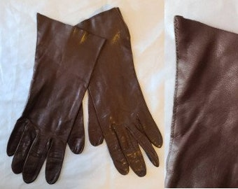 Vintage Leather Gloves 1950s 60s  Midlength Thin Brown Kid Leather Gloves Classic Rockabilly Breakfast at Tiffany's 7
