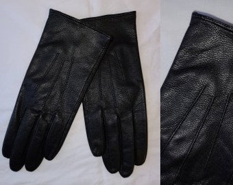 Vintage Leather Gloves 1980s 90s Black Leather Fownes Gloves Thin Lining Boho Winter Gloves M