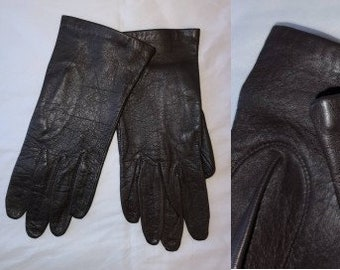 Vintage Leather Gloves 1990s 2000s Thin Dark Brown Leather Gloves Saddlebred Thin Lining Boho 7 1/2