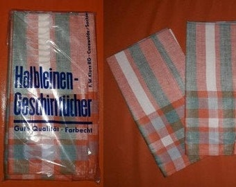 DEADSTOCK Vintage Dish Towels Unused 1950s 60s German Half Linen Plaid Colored Dish Towels Set of 3 Halb Leinen Geschirrtuecher Rockabilly