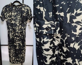 Vintage 1950s Dress Black Beige Thin Rayon Abstract Leaf Print Pencil Wiggle Dress Rockabilly S chest 36 in.