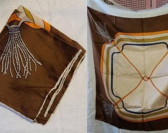 Vintage Silk Scarf 1960s Italian Large Beige Brown Silk Geometric Equestrian Mod Tassel Print Scarf Hand Rolled Edges Boho 29.5 x 30 in.
