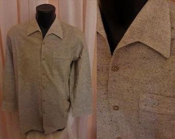 Unworn Vintage Men's 1960s Shirt Brown Beige Flecked Soft Woven Cotton Shirt Walbusch German Rockabilly Greaser L chest to 46 in.