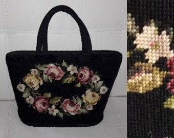 Vintage 1940s 50s Purse Black Fabric Petit Point Handbag Needlepoint Bucket Purse Floral Rose Pattern USA Rockabilly