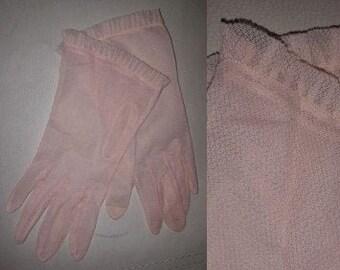 Vintage 1950s Gloves Sheer Pink Textured Nylon Gloves Rockabilly Pinup Burlesque 7