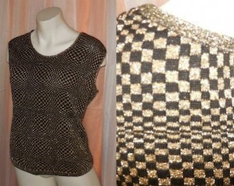 Vintage 1970s Vest Amazing Black Gold Metallic Op Art Checkerboard Sleeveless Pullover Creation Paris French Boho Mod L XL chest to 42 in.