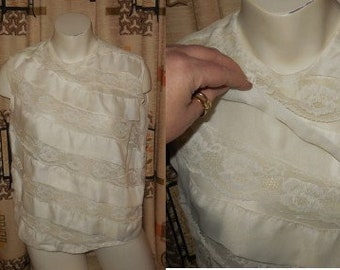 Vintage 1950s 60s Blouse Semi Sheer White Nylon Top Ruffles Lace Back Button Sleeveless Rockabilly Pinup M chest to 38 in.