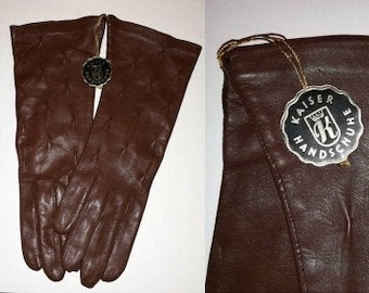 Unworn Leather Gloves 1960s 70s Brown Leather Gloves NWT Kaiser Handschuhe German Boho 6 3/4