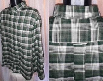 Vintage Men's Shirt 1990s Dark Green White Plaid Towncraft Long Sleeve Cotton Blend Shirt USA Rockabilly Grunge XL chest to 48 in.
