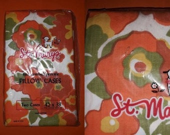 DEADSTOCK Vintage Pillow Cases Pack of 2 1960s Large Orange White Floral Pillowcases NIP 100% Cotton Percale USA Pop Mod 42 x 38 in.