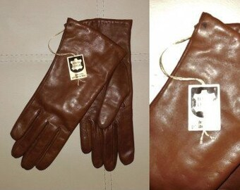 Deadstock Vintage Gloves 1960s 70s Soft Brown Wool Lined Leather Gloves Unworn NWT Rockabilly German S