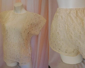 Vintage Shorts Set 1970s 80s Sheer Beige Lace T Shirt and Jogging Shorts Lingerie Set German Boho Festival M chest to 39 in.