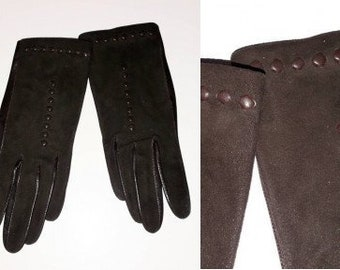Vintage Leather Suede Gloves 1950s Very Thin Dark Brown Gloves Tiny Leather Embossed Circles Elegant Rockabilly 6 3/4