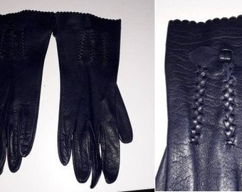 Vintage Leather Gloves 1950s 60s Thin Dark Purple Leather Gloves Braided Design on Fronts Bow Elegant Rockabilly Fine Leather M