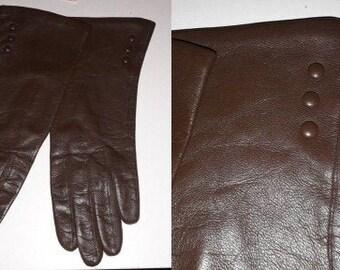 Vintage Leather Gloves 1950s Thin Dark Brown Leather Gloves Small Leather Button Details Thin Silky Lining Elegant Rockabilly 7